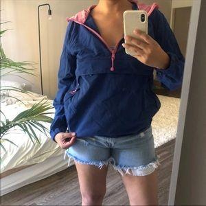 Stussy Pullover Blue and Pink Windbreaker Hoodie S